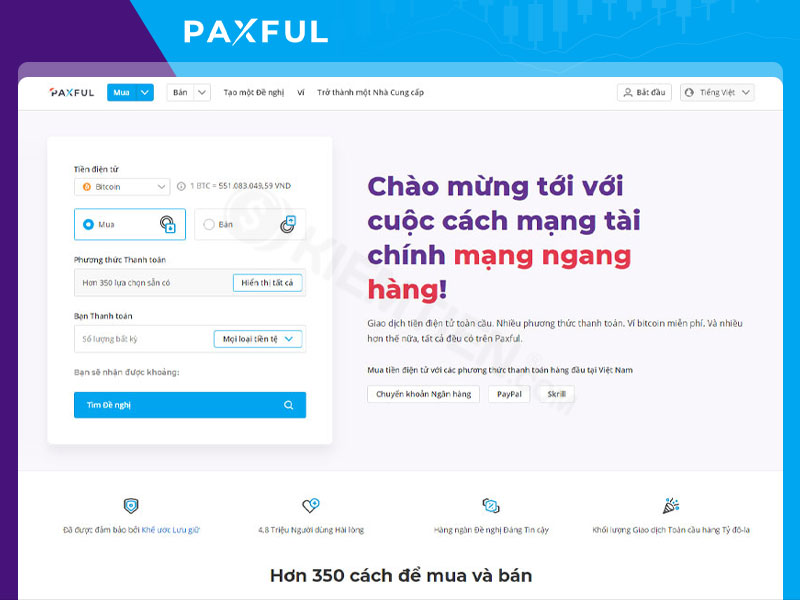 Nền tảng giao dịch sàn Paxful